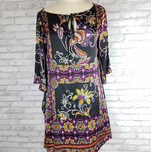 HALE BOB Silk Blend Floral Mosaic Print Dress